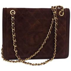 Chanel quilted suede brown suede flap bag