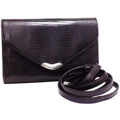 Vintage Ralph Lauren LIzard  crossbody Bag/ clutch With Sterling Silver Detail