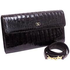 Valentino Garavani Chocolate Brown  Alligator  Clutch/ Shoulder Bag