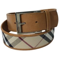 Burberry Plaid Leather Belt
