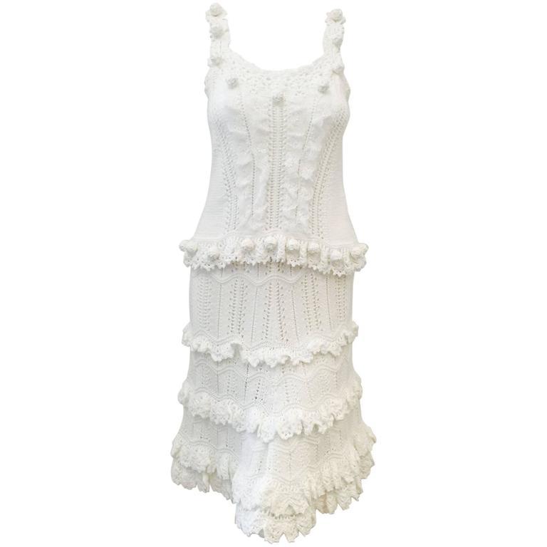 Oscar de la Renta White Cotton Crochet Camisole and Skirt Ensemble  For Sale