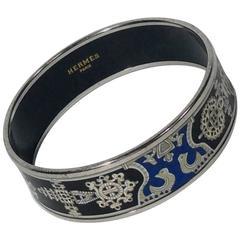 Hermes Blue and Black Enamel Bangle