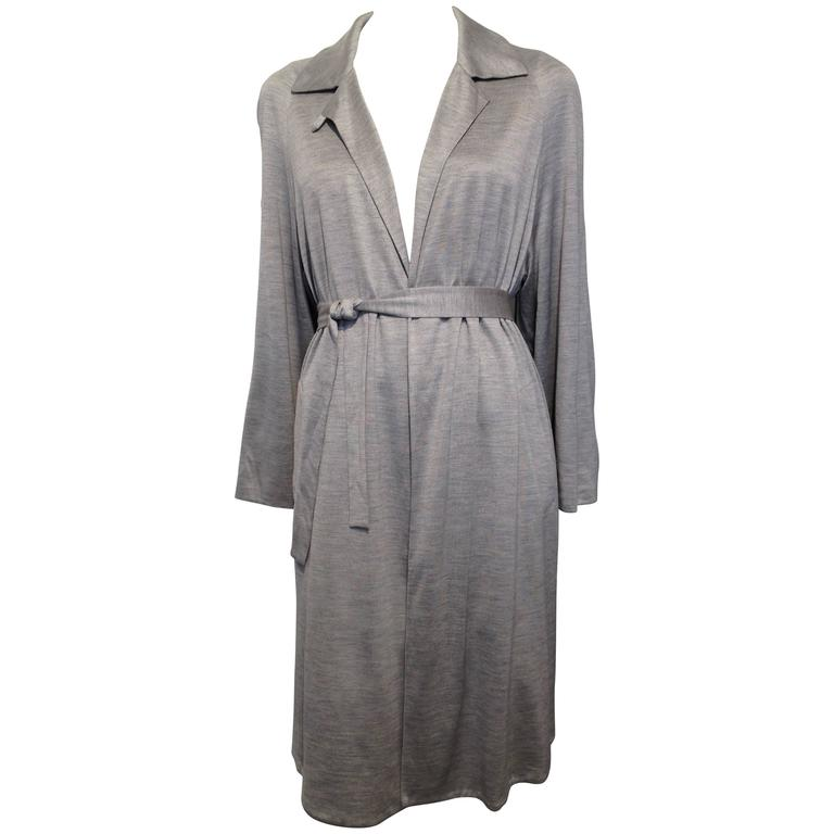 Hermes Grey Silk Knit Wrap Coat Size 40 (8) 1