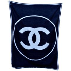 CHANEL Black & Off White Large CC Logo Travel Home Decor Throw Blanket NEW