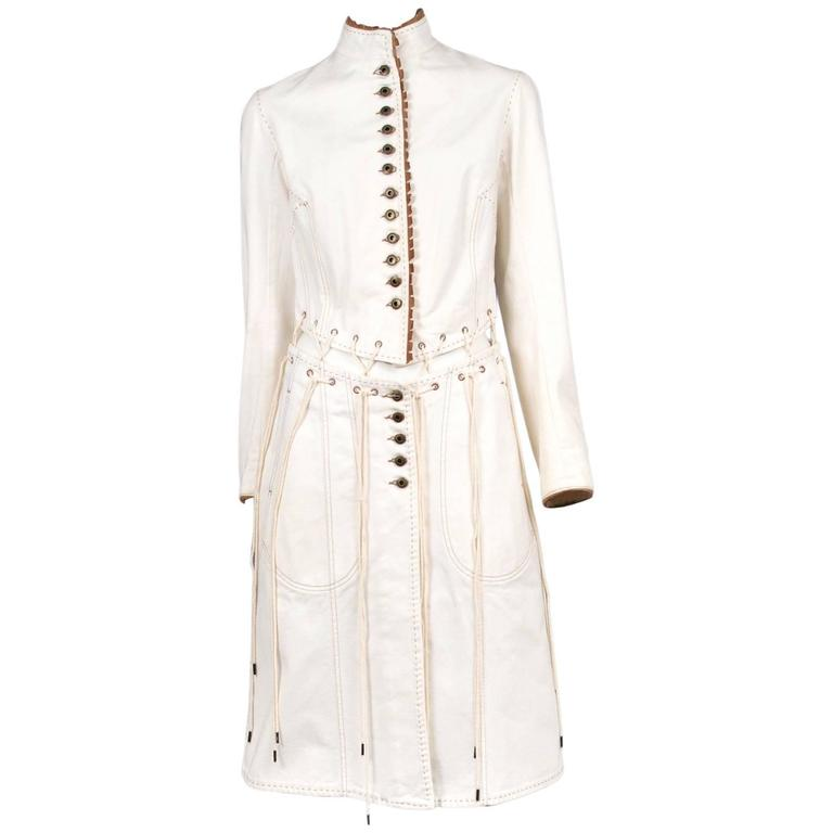 Alexander McQueen Ivory Laces Coat 2004 For Sale
