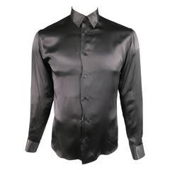 DIOR HOMME by Hedi Slimane Size M Black Silk Satin Long Sleeve Dress Shirt