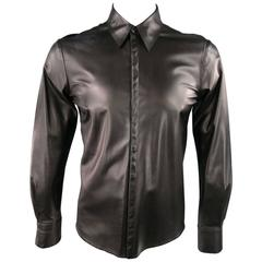 CoSTUME NATIONAL Size S Black Leather Hidden Snap Placket Long Sleeve Shirt