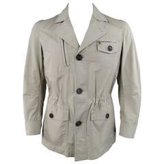 BRUNELLO CUCINELLI S Khaki Cotton Patch Pocket Drawstring Waist Jacket