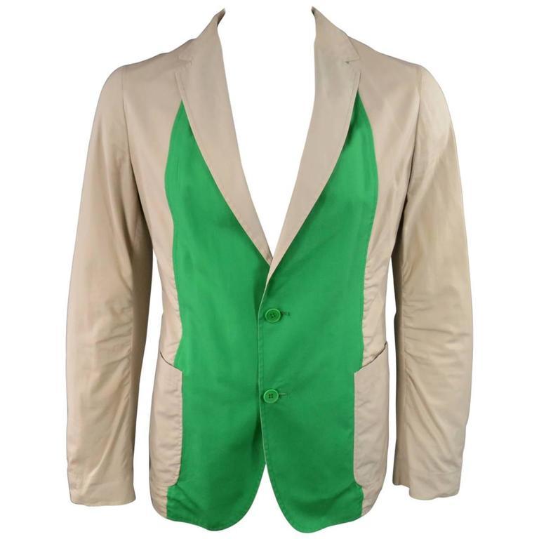 BOTTEGA VENETA Size 42 Men's Khaki & Green Light Weight Cotton Sport Coat