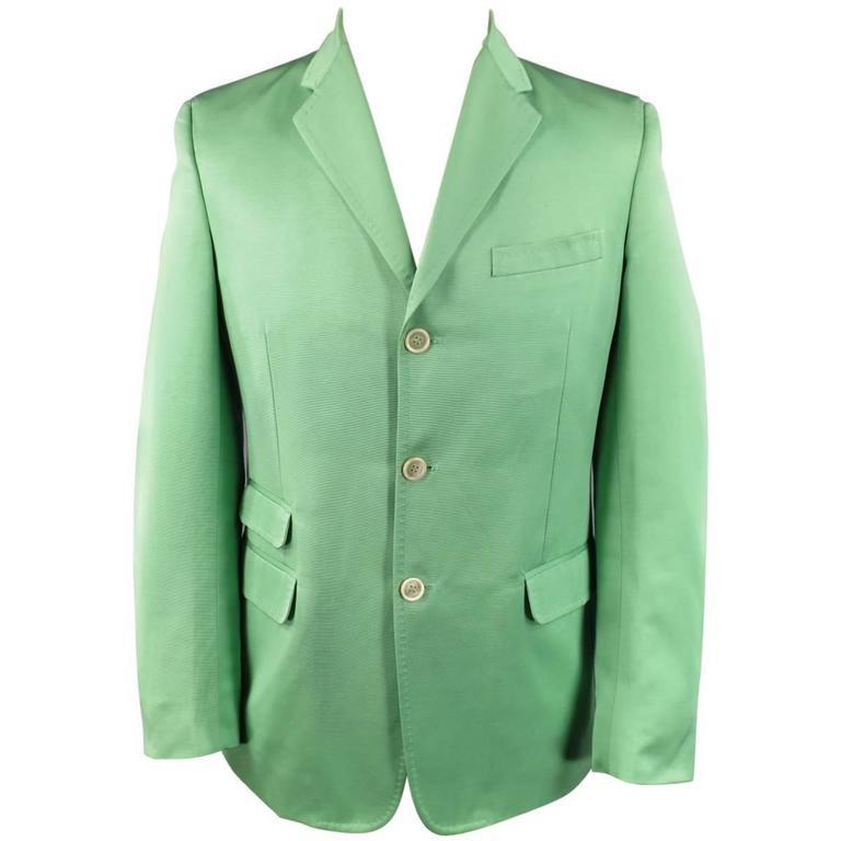 DSQUARED2 40 Regular Men's Light Green Cotton / Silk Faille Sport Coat For Sale