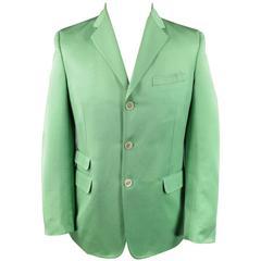 DSQUARED2 40 Regular Men's Light Green Cotton / Silk Faille Sport Coat