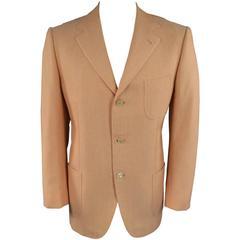 BORRELLI 44 Men's Peach Orange Cotton / Silk Patch Pocket Sport Coat