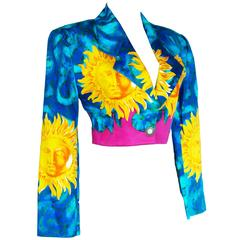 Vibrant Versace Cropped Sun Print Jacket New Old Stock Size 38 Late 90s