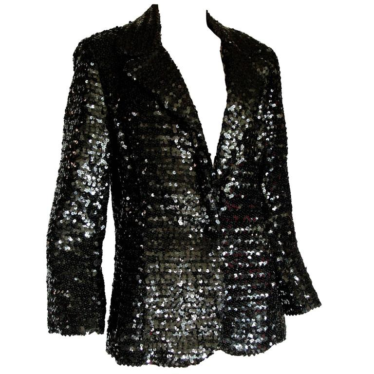 Shimmering Black Sequins Blazer Jacket by Jack Hartley Miami 1970s Size M For Sale
