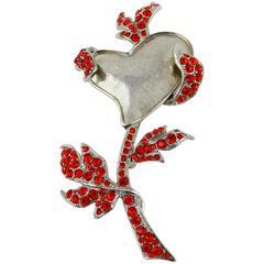 Christian Lacroix Vintage Jewelled Flower Heart Brooch