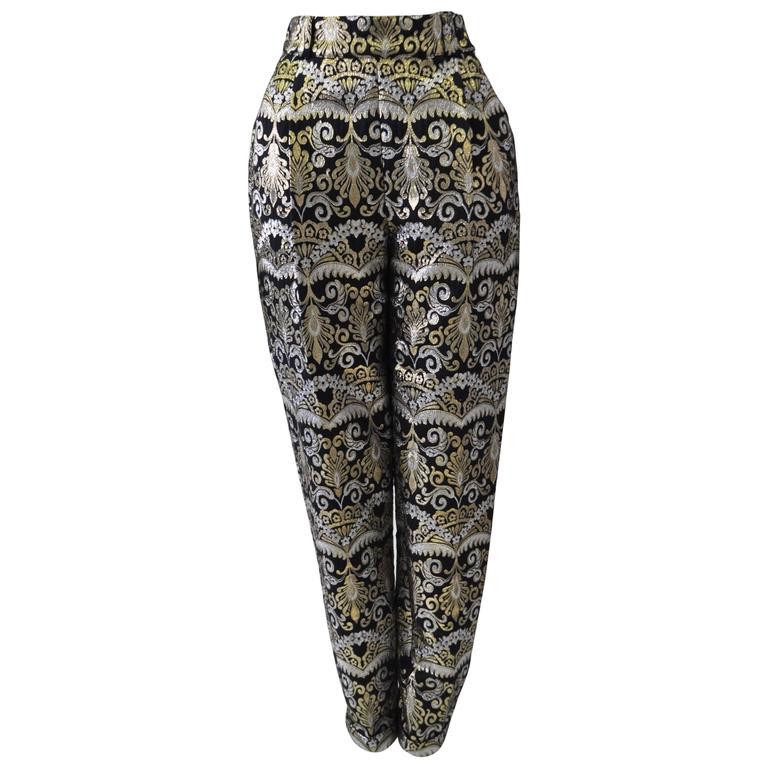 Extravegent Atelier Versace Printed Silk Lame Pants