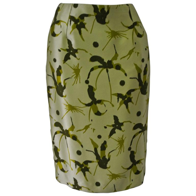 Elegant and Unique Gianni Versace Couture Frond Print Silk Pencil Skirt 1