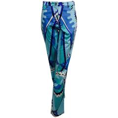 Bessi Purple, blue, aqua & black geometric print jeans NWT