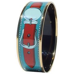 Hermes Printed Enamel Bracelet Collier de Chien CDC GHW Size GM 70
