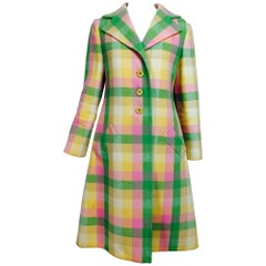 Vintage Bill Blass double face wool pastel plaid coat 1970s