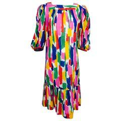 Vintage Philippe Venet Paris printed linen/cotton shift dress 1980s
