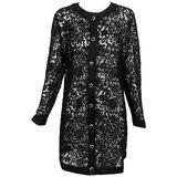 Vintage Custom black Guipure lace coat satin facings & jewel buttons 1990s 14