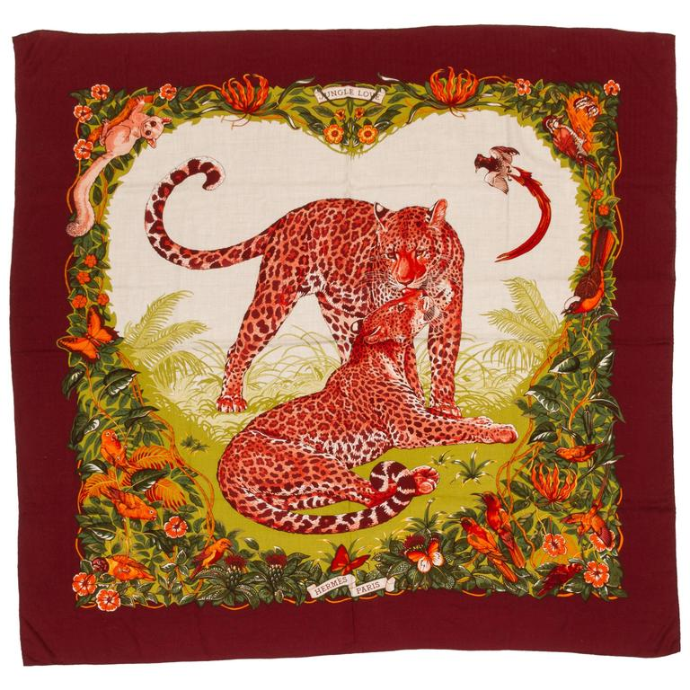 "Hermes Cashmere Jungle Love 55"" Shawl by Artist Dallet"
