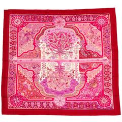 """Hermes Au Porte du Palais Pink Paisley Cashmere 55"""" Shawl With Box"""