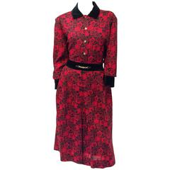 80s Celine Floral Red & Black Wool Two Piece Set with Velvet Trim