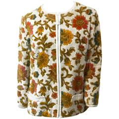 60s Floral Tapestry Jacket with White Leather Trim