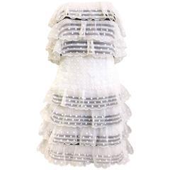 90s CHANEL white swiss dot strapless mini dress