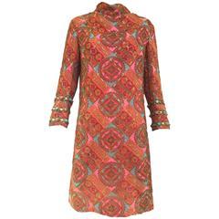 60s Bill Blass silk paisley print dress with jeweled cuffs