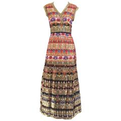 70s malcolm starr metallic multi collor silk dress