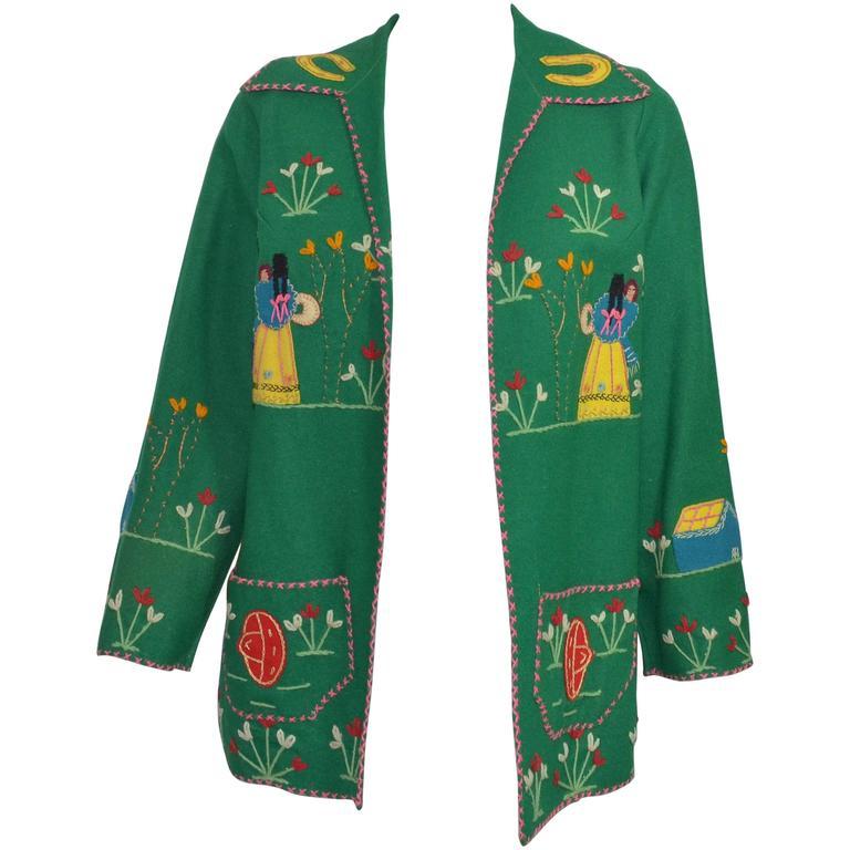Vintage Mexican Tourist Felt Knit Jacket 1