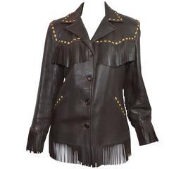Vintage Genuine Deerskin Leather Fringe Button Jacket