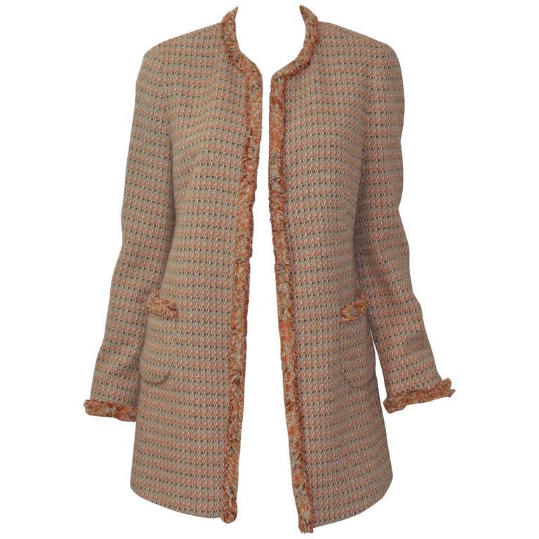 Chanel Classic Tweed Knit Fringe Jacket