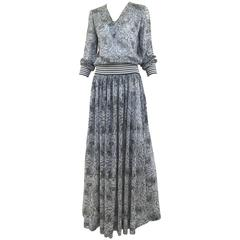 70s Missoni metallic grey and blue knit top and skirt set