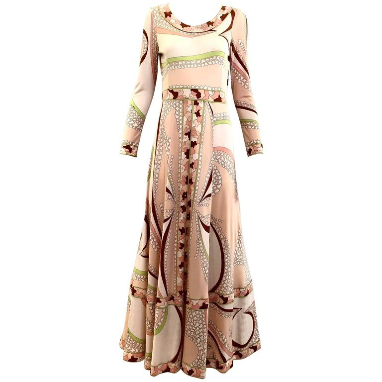 70s Bessie peach and brown print matte jersey maxi dress For Sale