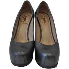 Stand-out Yves Saint Laurent Gunmetal Tribtoo Platform Pumps