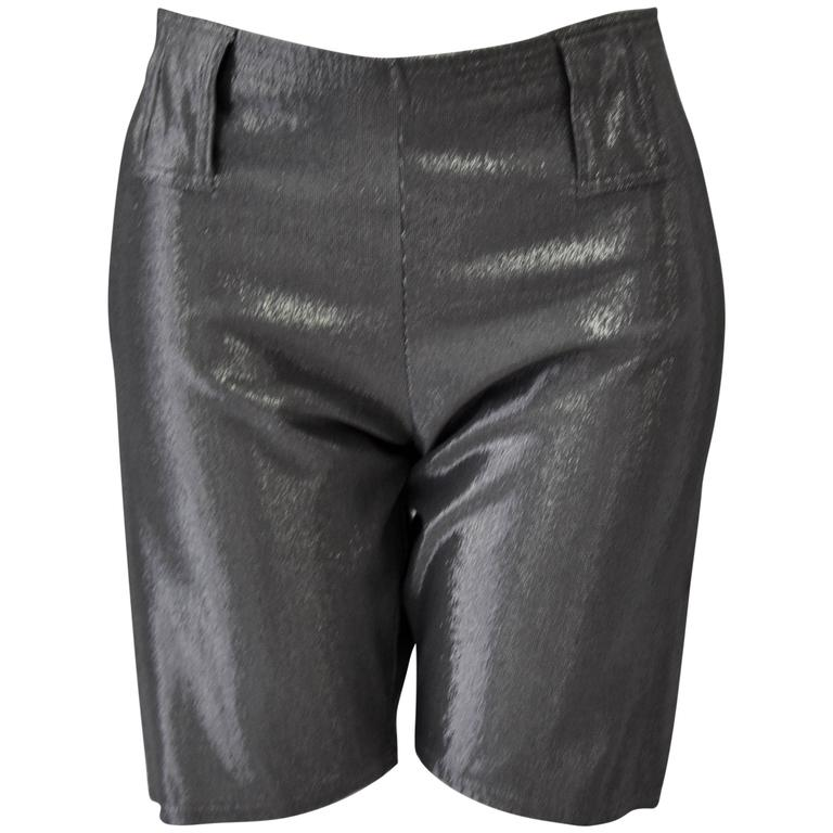 Very Rare Gianni Versace Graphite Lurex Bike Shorts