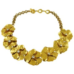Yves Saint Laurent YSL Jewelled Gold Tone Pansy Necklace