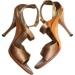 Prada Bronze Satin Sandals / Heels