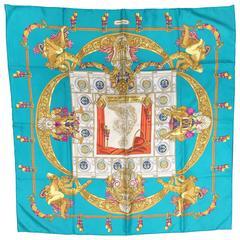 "Hermes turquoise ""Hommage a Charles Garnier"" Silk Scarf"