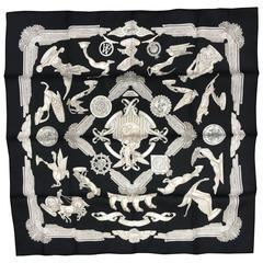 Hermes Scarf Black and silver Les  Parures Du Vent