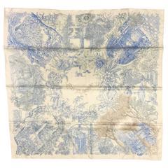 """NEW IN BOX Hermes Blue & White """"Le Jardin de Leila"""" Silk Scarf"""