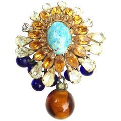 1950s Schreiner Glass Drop Brooch