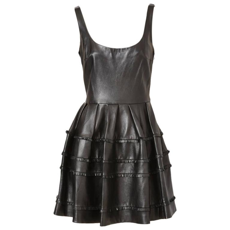 DIor Leather Dress With Fringe Detail For Sale