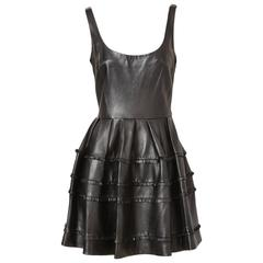 DIor Leather Dress With Fringe Detail