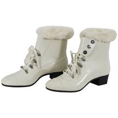 White Chanel Boots with Fur Inside