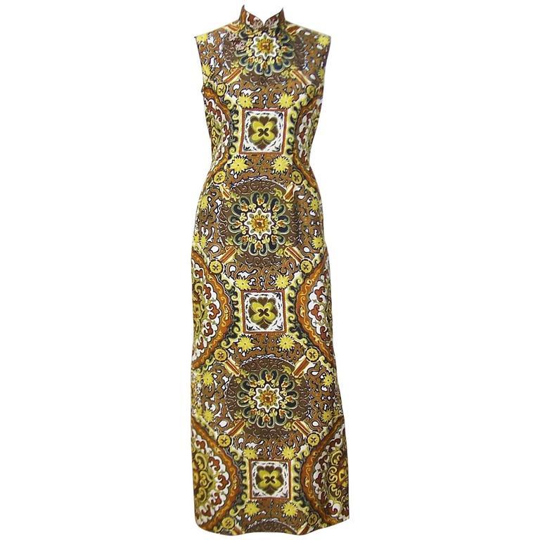 C.1970 Cheongsam Exotic Silk Tiki Dress